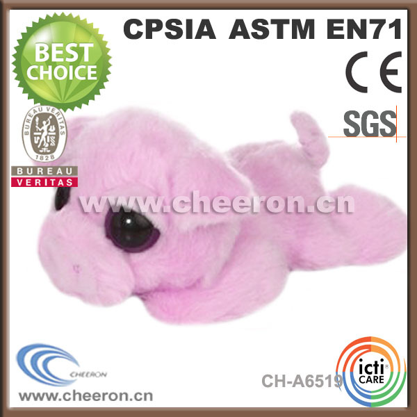 Pink lying customized stuffed animals pig with big eyes