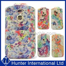 Floral Design Flip Leather Sleeve Bag For Samsung S5