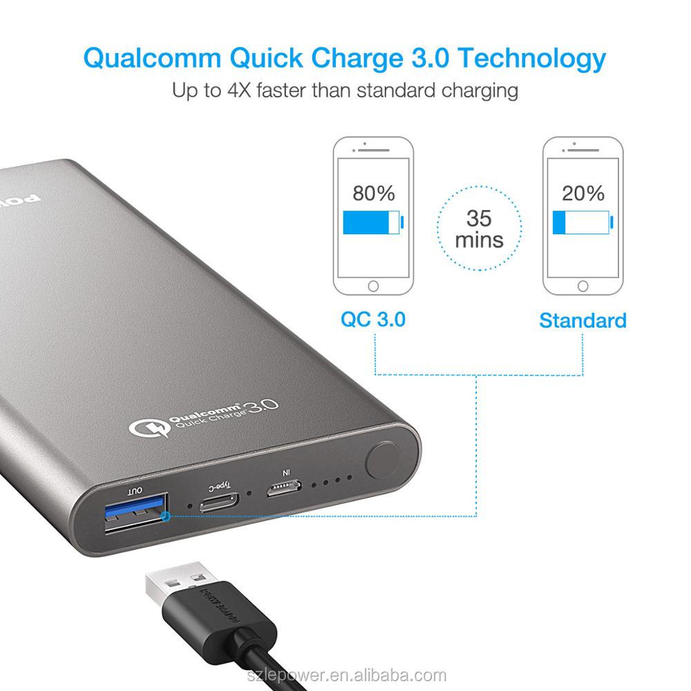 Newest Type C quick charge 3.0 power bank 10000mah branded fast charge power bank