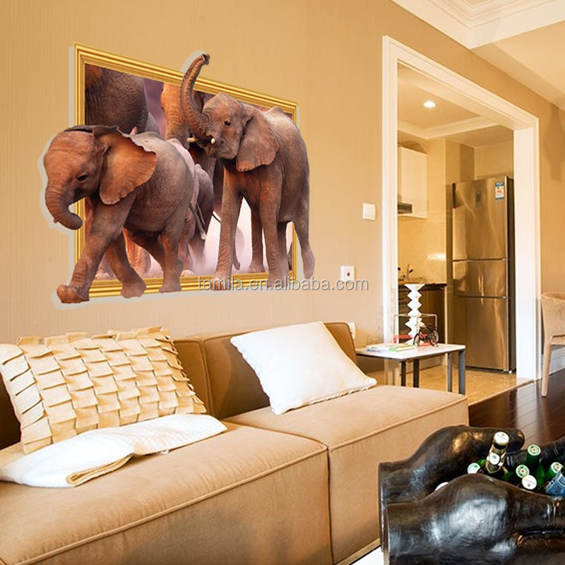 Large size 3D elephant wall sticker for decoration