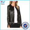 Yihao 2016 latest design cheap winter women PU fringe leather jacket online wholesale