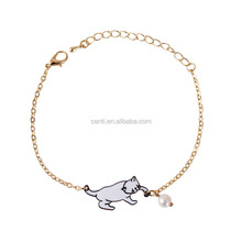 enamel cat catching the ball bracelet metal cat pearl bead charm gold chain bracelet