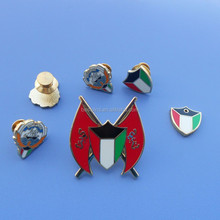 chrome metal die casted Kuwait flag Deluxe badge insignia lapel pin magnetic brooch pin shirt collar pins