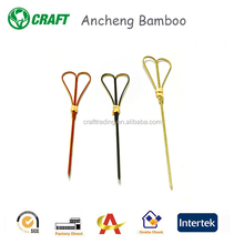 Chinese custom made disposable heart shape bamboo skewer/bamboo product