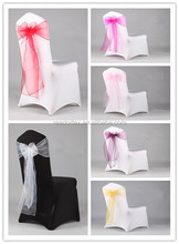 wholesale wedding/banquet white universal spandex lycra chair cover with organza sash