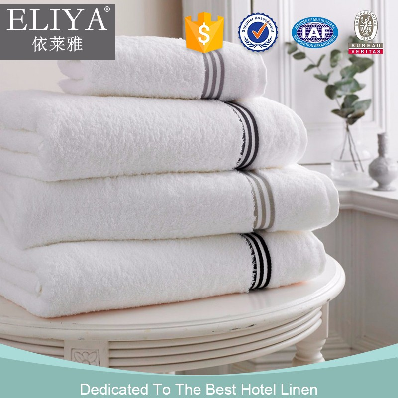 ISO9001 certified 100 cotton white plain/jacquard hotel towel