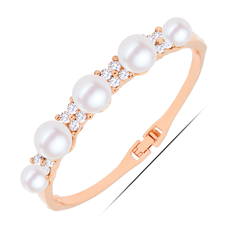 <strong>W163</strong> Korean Pearl Bangle For Girlfriend 18K Gold Plated Jewelry 2017 Latest Design Bangle Wholesale Mother's Day Gift
