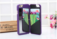 Multifunction Make up Mirror + Plastic Wallet Case Cover For iPhone 6 plus ,Cell Phone Case With Mirror