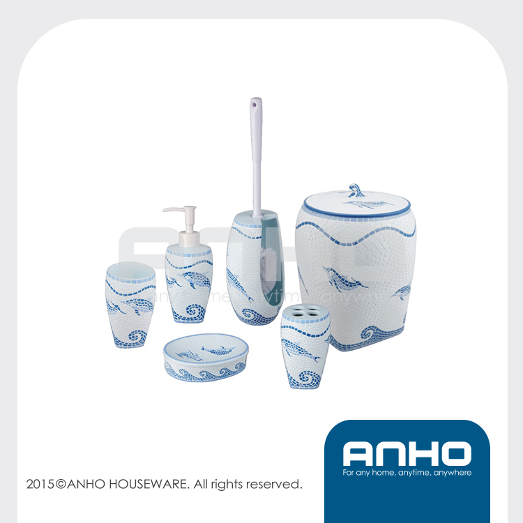 China manufacture dolphin mosaic white bathroom set
