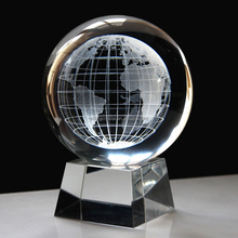 crystal globe ball 3d laser engraved with clear crystal base for table decoration