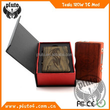 Hot! Wholesale e-cig wood box Tesla 120 watt box mod / Tesla 120w