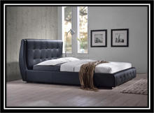 049 upholstery kimberly bedstead in silver grey crushed velvet/faux leather/linen fabric UK standards in 4ft 6in and 5ft