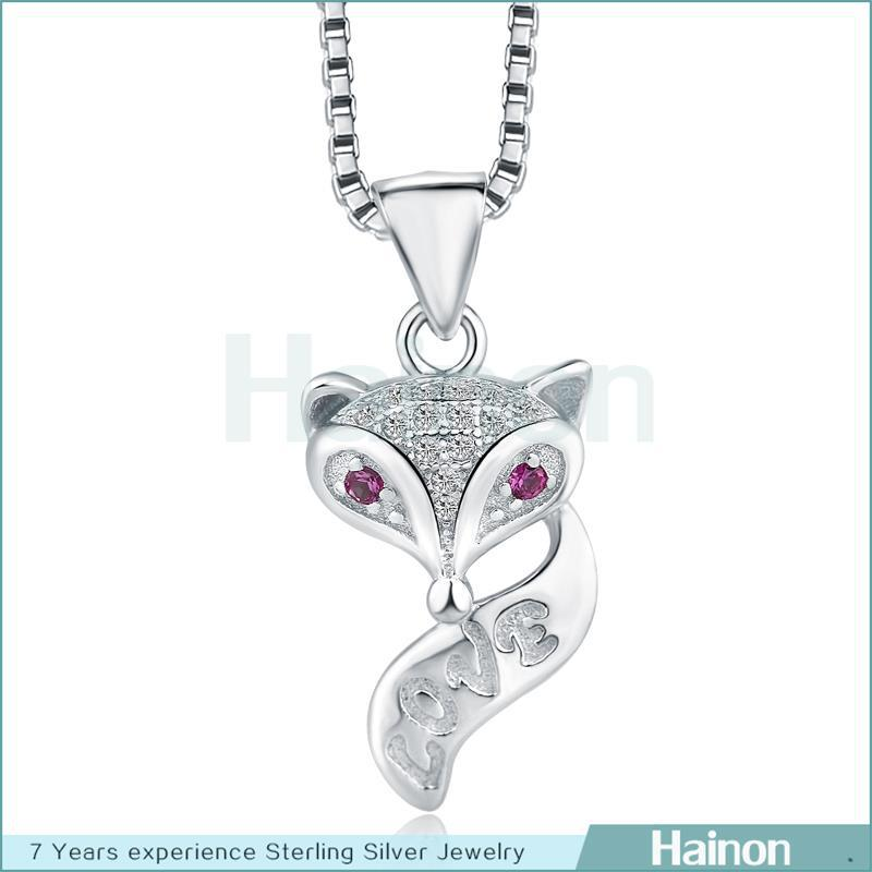 GirlS Fashion Titanic 925 sterling silver fox Pendant Necklace