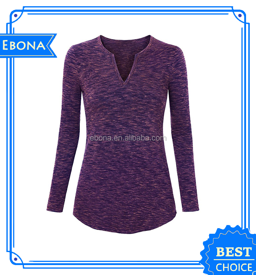 Wholesale Custom Hot Western Women Long Sleeve New Style Blouses Ladies Latest Plain Blouse Designs Casual Tops