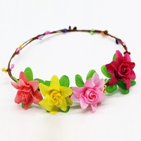 High quality handmade wedding bridal headband flower crown hair accessories party floral garlands flower