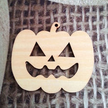 2018 laser wood pumpkin ornaments for Halloween