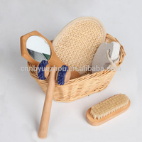 Bathroom Gift Set Round Willow Basket Bath Accessory Set for Spa