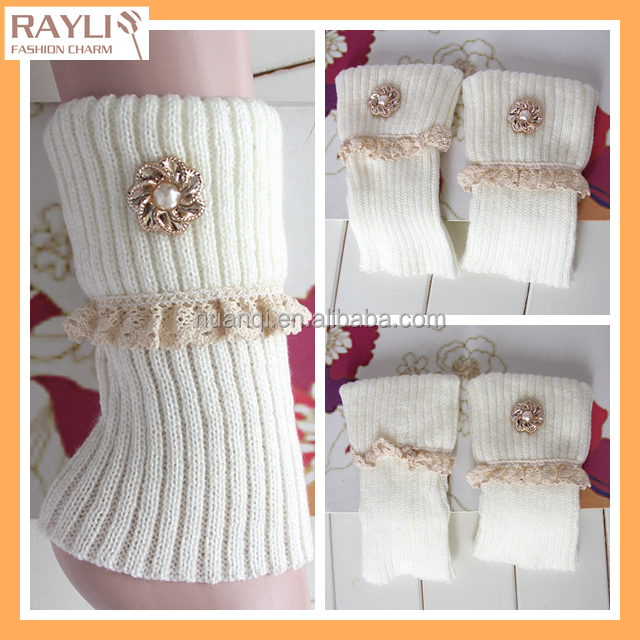 flower accessories Women Winter Simple cable Knit boot Cuff topper with pearl flower