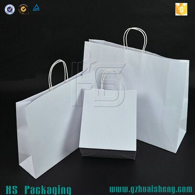 Guangzhou manufacturer wholesale white kraft paper shopping bags with paper string handles