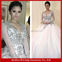WD033 One piece popular bling long sleeve wedding dresses ball gown