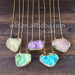 WT-N436 Wholesale Raw crystal druzy cluster Aura necklace Celestial natural crystal quartz necklace