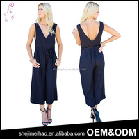 Sexy Ladies Deep V Casual Pants one Piece Backless Ladies Jumpsuit