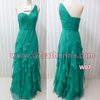 Green chiffon ruffle long maxi elegant cocktail dresses for party
