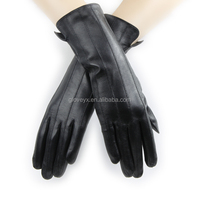 middle long fashion women sheep leather gloves dress