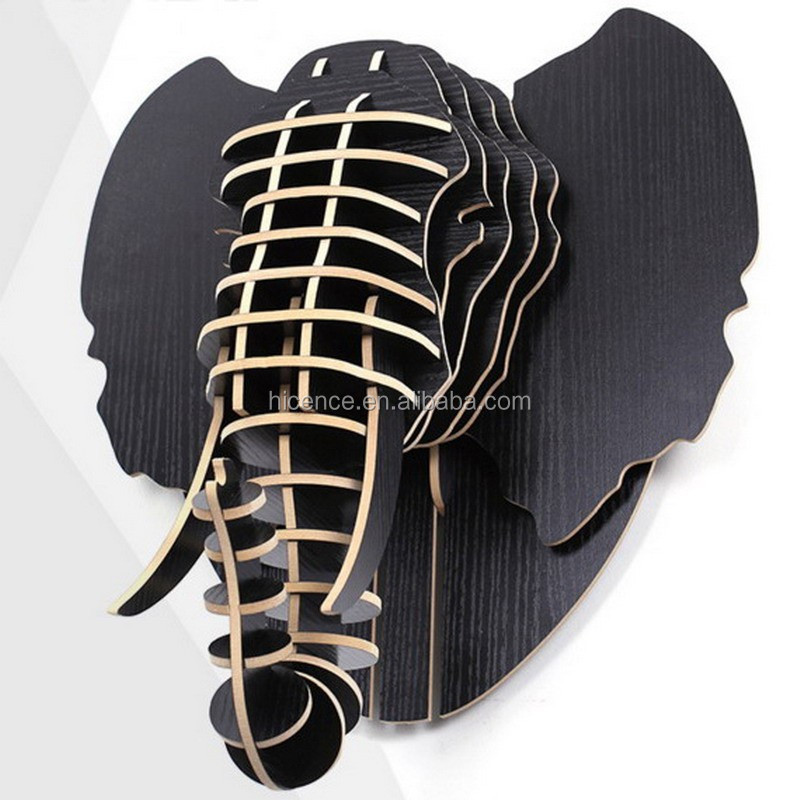 Black Wall-mounted animal head wood elephant head for wall decoration