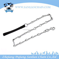 Pet chain balck nylon handle dog leash wholesale chain lead