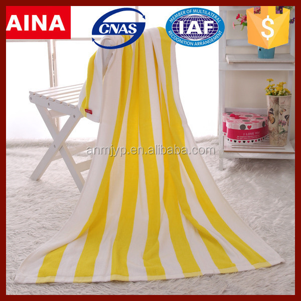 2017 new products yellow stripe bath towel sets 100% cotton