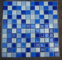 Blue swimming pool tile crystal glass tile mosaic