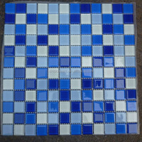 Blue Swimming Pool Tile Crystal Glass