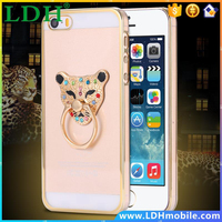 For iPhone 5 5s Stylish Tiger Flower Heart Pattern Ring Stand Case for Apple iPhone 5 5S Hard PC Back Plating Protective Cover