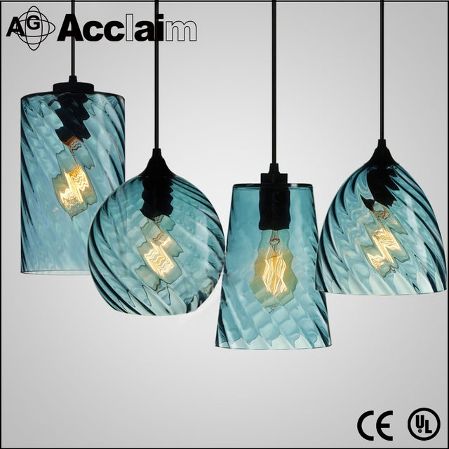 latest design modern blue color screw thread pendant lamp cheap glass chandeliers