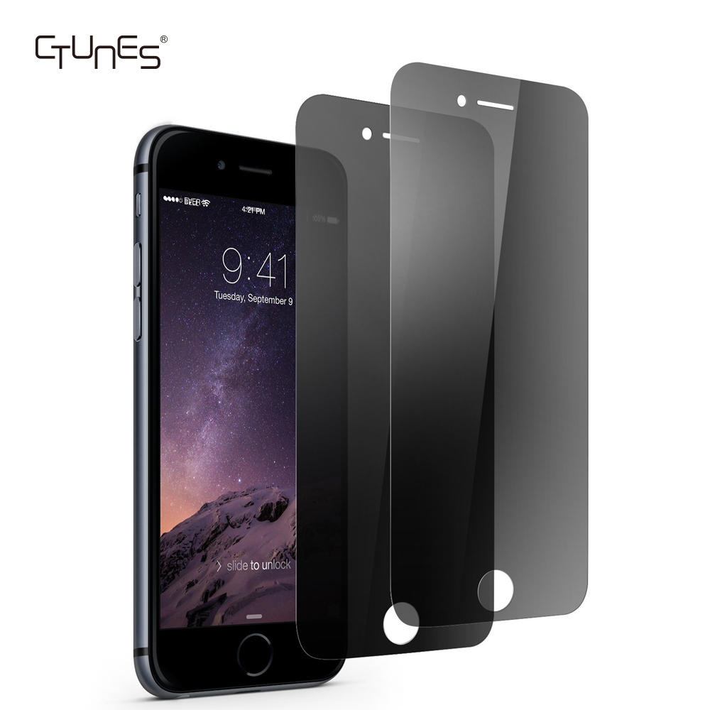 CTUNES Black 9H HD Privacy Anti-Spy Tempered Glass Screen Protector For Apple iPhone 7 / 8 Plus
