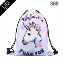 Hot selling unicorn backpack drawstring bag 3D printing manufacturers high quality promotion custom gift bag