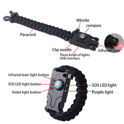 cool shaped handmade paracord long-range laser survival bracelets for boys with SOS LED light for rescue survival