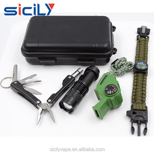 Survival Kit Emergency STAINLESS-STEEL-10-IN-1-POCKET-MULTI-TOOL whistle flash light and parachute cord Hot Sale