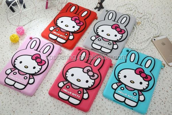 New Design Bunny Kitty silicone case for ipad mini, cute cover for ipad mini 2