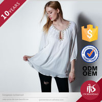 custom good quality lady blouse neck models