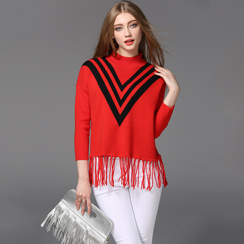 OEM sweater factory causal style woolen sweater designs ladies tassle collar neck big v pattern sweater