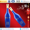 aluminium cap sealed wine blue glass bottles