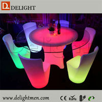 New products round illuminated party event restaurant round tables and chairs