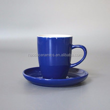 [HAODE CERAMICS]ZIBO manufacturer two-tone white blue ceramic coffee sets tea sets with tall cup