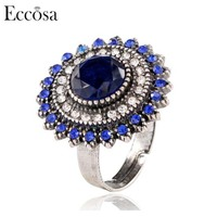 Eccosa Silver Plated Arab Ring Sun Flower Shaped Fashion Colored Stones Ring For Ladies