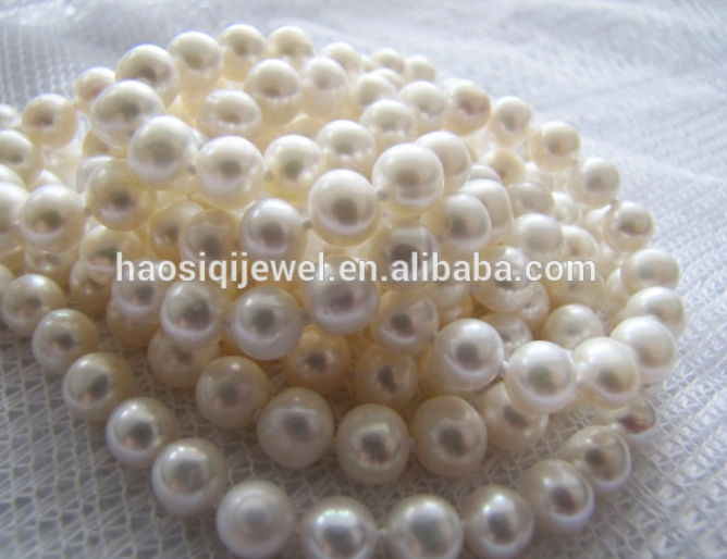 Hot wholesale 10mm white real round freshwater pearl
