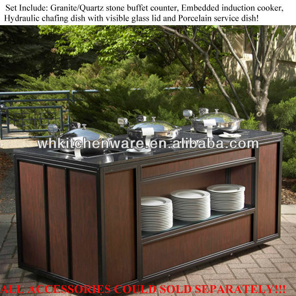 Induction cooker,porcelain pan, chafer/ wooden buffet table