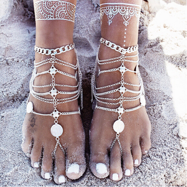 bracelet foot cute chain anklet silver beaded and chaine women sandals barefoot patterns anklets jewellery rainbow gold cheville for
