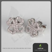 Wholesale fashion silver flower earing
